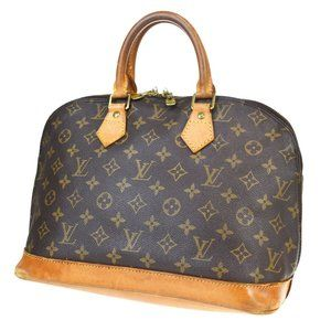 LOUIS VUITTON Alma Hand Bag Monogram Leather Brow